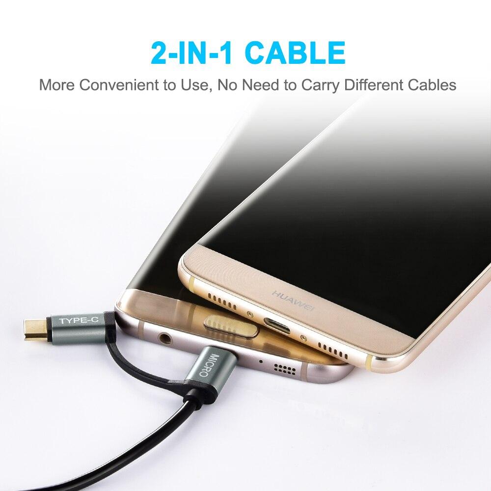 CHOETECH 2 i 1 USB-kabel Type C + Micro USB-kabel 1,2M - Reservdelar och tillbehör för mobiltelefoner - Foto 4