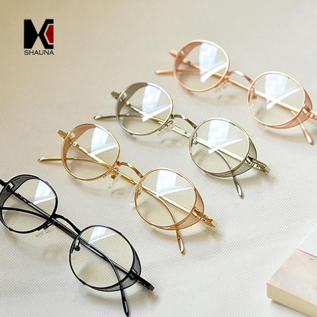 Óculos de Armação De Metal SteamPunk do vintage Mulheres Rodada Óculos de Lente Clara Homens Da Moda Azul Rays Proteção Óculos de Leitura