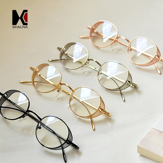 22ba127921 SHAUNA Vintage Metal SteamPunk Glasses Frame Women Round Clear Lens Glasses  Fashion Men Blue Rays Protection Reading EyeWear