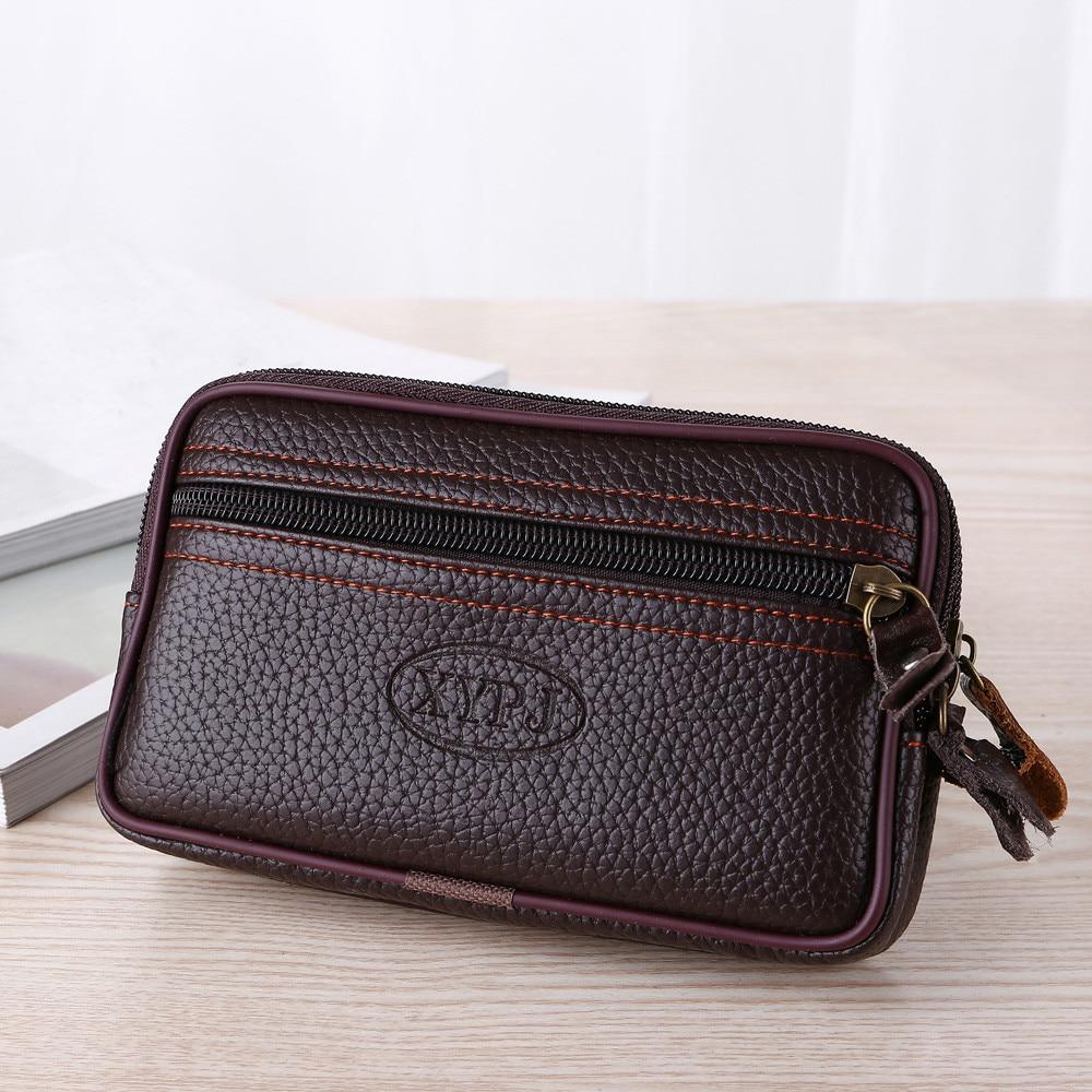 Кожаный мини-кошелек на молнии для мужчин и женщин, маленький бумажник для мелочи, мужской держатель для телефона, поясная сумка