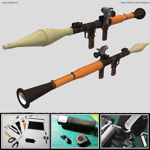 3D Paper Model RPG 7 Bazooka Can Assemble Firearm Finished Length 120cm Paper Weapon For Cosplay