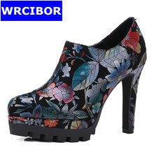 2017 Spring Women's Shoes Sheepskin pointed toe High-heeled shoes Lady Fashion Printing flowers Spike heels Platform High Heels