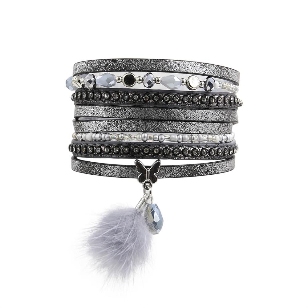 2019 Neuer Stil Mode Frauen Trendy Strass Set Multi Perlen Mit Pelz Schmetterling Charme Magnet Schnalle Grau Farbe Wrap Armband