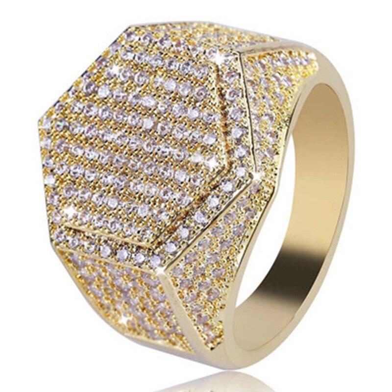 Новые модные мужские большие размеры Лодж Totems мужское кольцо с шестигранным диамоном кольцо с перекрестной каймой Золотое кольцо для мужчи...