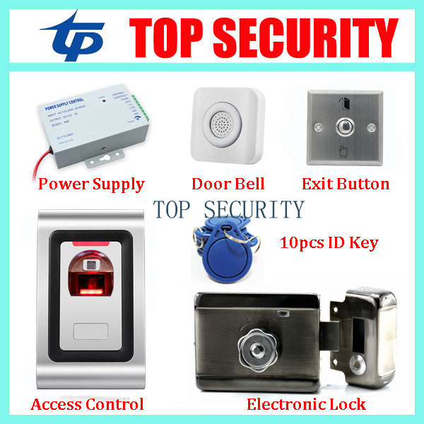Standalone biometric fingerprint door access control system+power supply+electronic lock +exit button+wrie bell+10pcs RFID key biometric standalone access control rfid access control for building management system