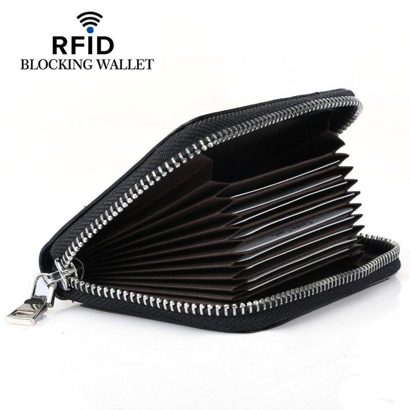 Kartenhalter Brieftasche RFID Sperrung Kurz Echtem Leder Kreditkarteninhaber Für Frauen Männer Vintage Geldbörse Mode Brieftaschen