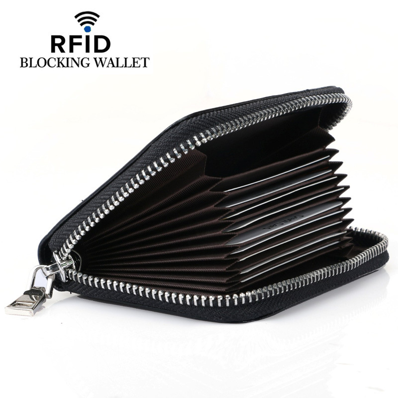 RFID Credit Card Holder Wallet Short Genuine Leather Coin Purse Card Case for Women Men Vintage Wallets for Credit Cards westcreek brand men women genuine leather rfid zipper credit card holder passport travel wallet coin purse business cards holder