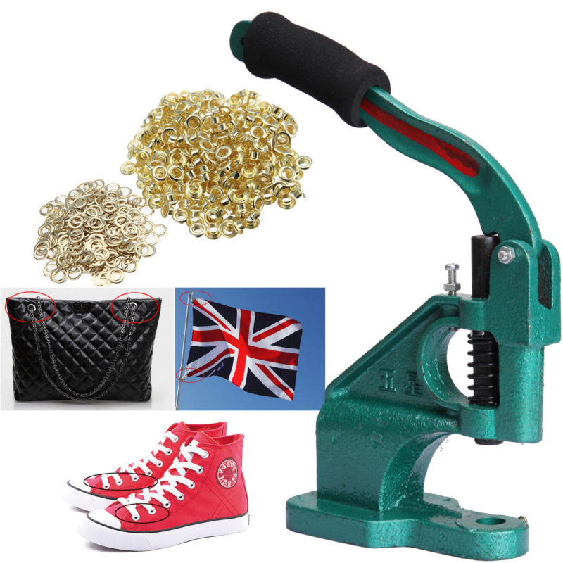 цена на (Ship from EU) Industrial Eyelet Banner Punch Machine 900 Grommet 3 Die Press Hole Presser Tool Set Kit for Banner Bags Shoes