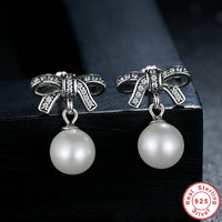 New Arrival 925 Sterling Silver Graceful Bow Knot White Pearl Drop Earrings For Women Luxury Authentic