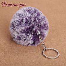 2017 Real Porte Clef Cute Fluffy Rabbit Fur Chain Rings Pendant Lovely Pompom Artificial Keychain Car Bag Ringtrendy Promotion