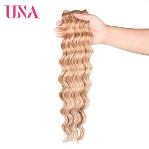 Image 2 - Extensiones de cabello humano Remy, mechones de cabello indio precoloreado con ondas profundas, 1/3/4 mechones