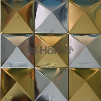 free shipping, big pyramid 100x100mm silver golden mixed stainless steel metal mosaic tile pyramid desgin