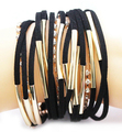 Free drop shipping black suede braid magnetic bracelet multiple pipe and 3string rhinestone cupchain women bracelets