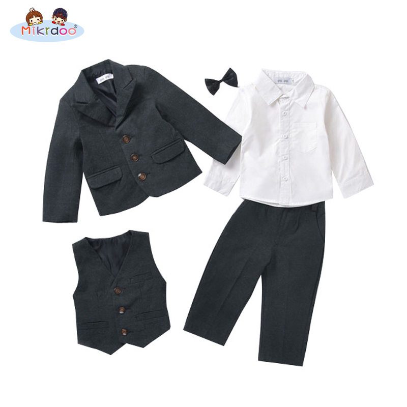 Baby boy clothes blazers tuexdo terno formal suit kids clothing set wedding gentleman coat shirt vest pants bow tie costume best new 2018 spring fashion baby boy clothes gentleman suit short sleeve stitching plaid vest and tie t shirt pants clothing set