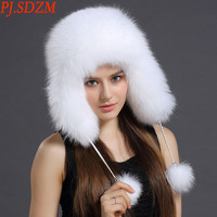 PJ.SDZM 2018 New Design Autumn and Winter Fox Fur Hat Women Casual Bomber Hats