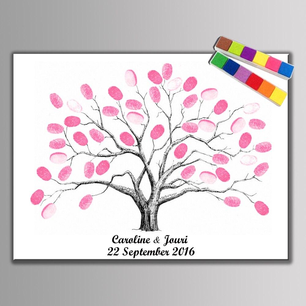 Diy Düğün Ağacı Parmak Izi Imza Ziyaretçi Defteri Parti Dekorasyon