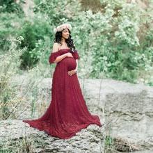 Envsoll koronki Maxi suknia ciążowa Fotografia rekwizyty sukienka ciążowa sukienki dla sesji zdjęciowej kobiet w ciąży sukienka tanie tanio Maternity Długość kostki Casual Lace Cotton Trąbka syrenka Krótki Shoulderless Stałe Naturalny kolor
