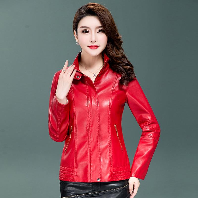 2018 New Autumn Women Washed Pu   Leather   Jacket Female Fashion Outwear Plus Size 5XL Ladies Elegant Faux   Leather   Coat Clothing