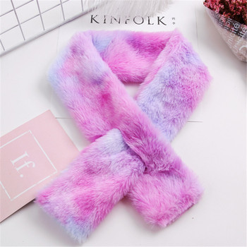 3pcs/lot Gradient Color Children Winter Scarf Girl Cartoon Plush Scarf Kids Cute Plush Comfortable Neck Warm Scarfs