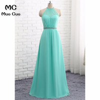 Elegant 2018 Aqua Prom Dresses Long with Crystals Beaded Chiffon Halter A Line Formal Evening Party Dress for Women 100% Real