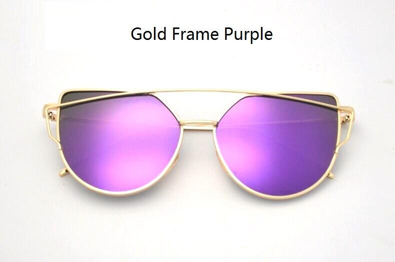 4d10d6c21b RunBird Mirror Flat Lense Women Cat Eye Sunglasses Classic Brand Designer  Twin-Beams Rose Gold Frame Sun Glasses for Women M195