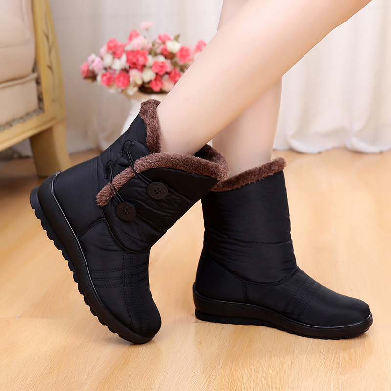 Women Snow Boots Winter Warm Non-Slip Waterproof Shoes Mother Casual Cotton Winter Autumn Fashion Boots Brown
