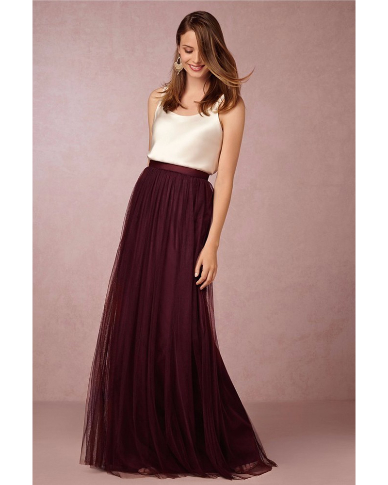 Two Piece Bridesmaid Dresses Ivory Top with Tulle Long Skirts Burgundy Lavender Sage Royal Blue ...