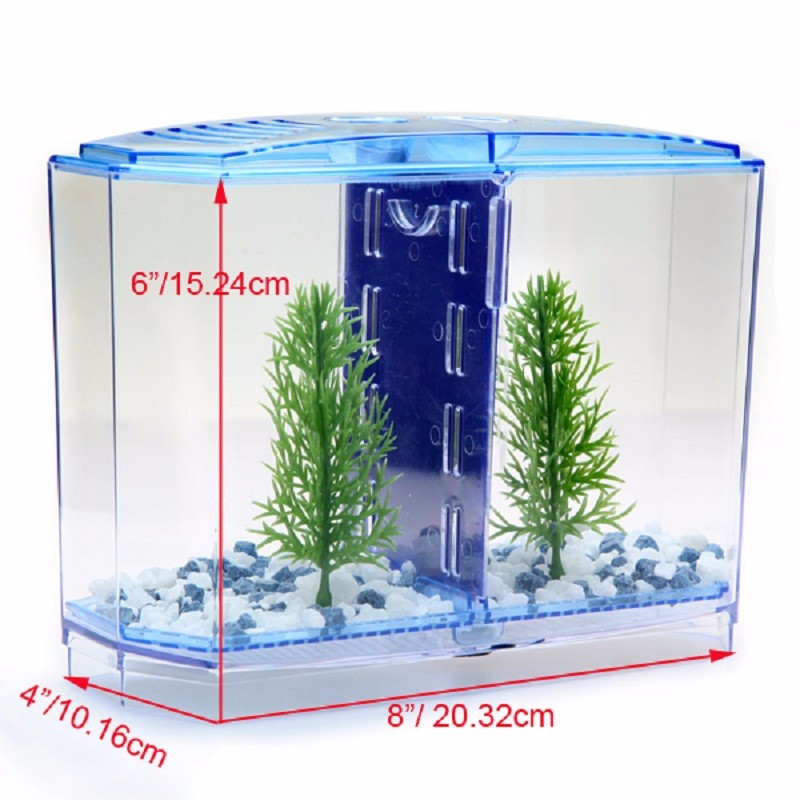 US $27 32 |arcylic Tropical mini nano Betta fighting fish tank aquarium  Breeding Twin Bowl Fry isolation Hatchery reptile cage turtle house-in Fish  &