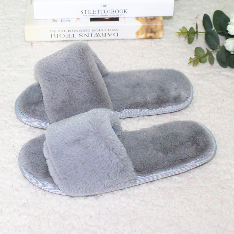 Plush home slipper spring shoes fuzzy winter indoor slipper open toe ...
