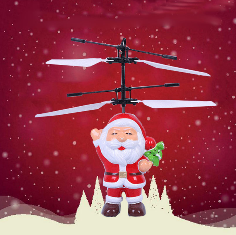 New Flying Santa Claus Novelty Induction Sense Toys Flashing Birthday Christmas Gift for Boys Kids Children