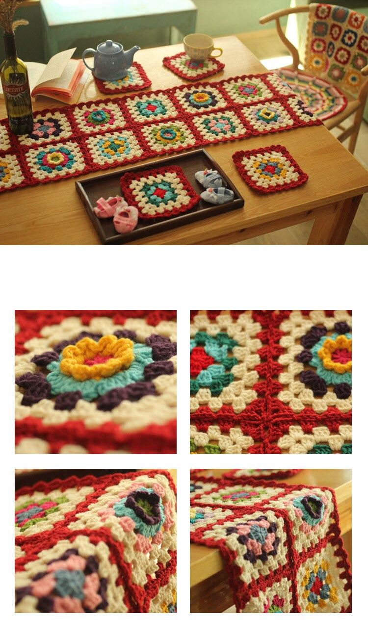 Pastoral colorido mesa plana corredor artesanal mão