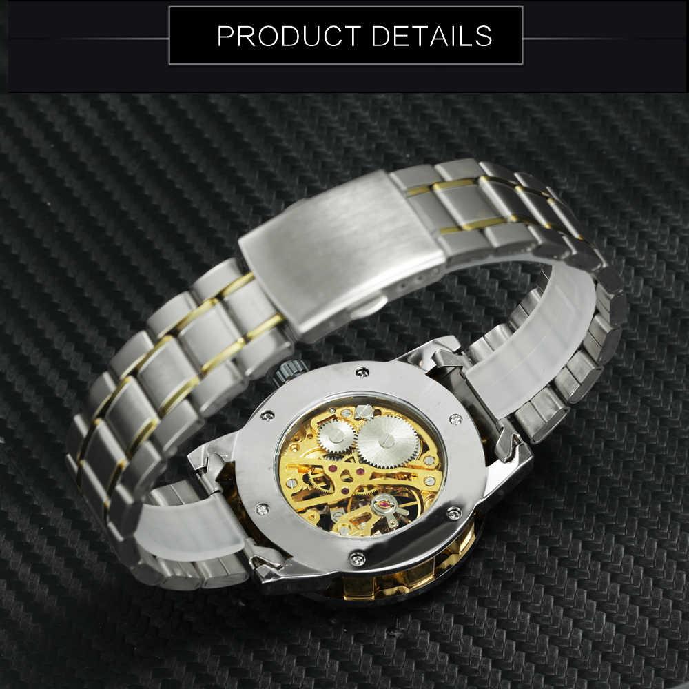 Gagnant creux mécanique hommes montres haut de gamme marque de luxe glacé cristal mode Punk acier montre-bracelet pour homme 2019 horloge chaude