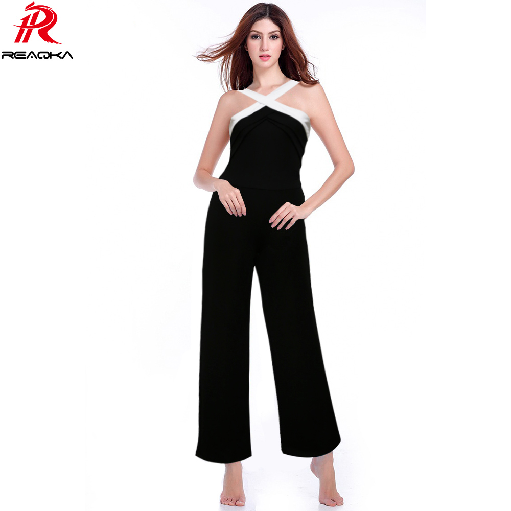 Sexy backless rompers Womens jumpsuit 2018 club nocturno más tamaño playsuits wide leg Halter Ladies elegante monos