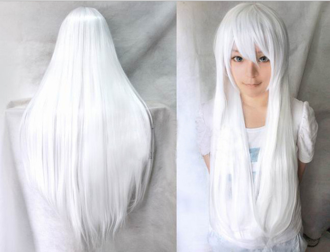 80 Cm Harajuku Anime White Cosplay Wigs Sexy Long Straight ...