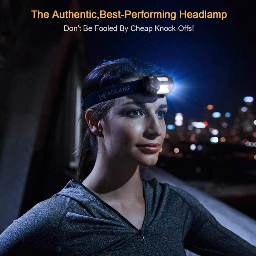 Купить с кэшбэком USB Rechargeable LED Headlamp Sensory switch 6 lighting modes White light + Red light For night fishing, camping, adventure,etc.
