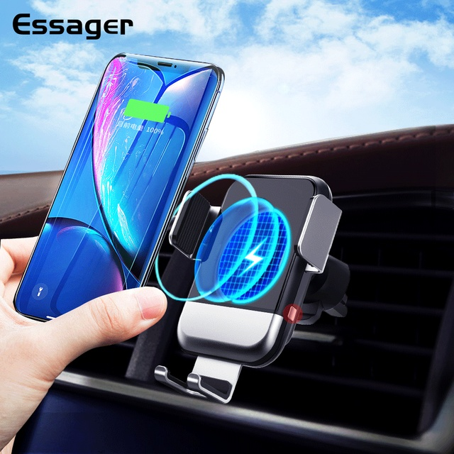 Essager Qi Car Wireless Charger for iPhone Samsung S20 Xiaomi mi 10W Induction Car Mount Fast Wireless Charging Car Phone Holder