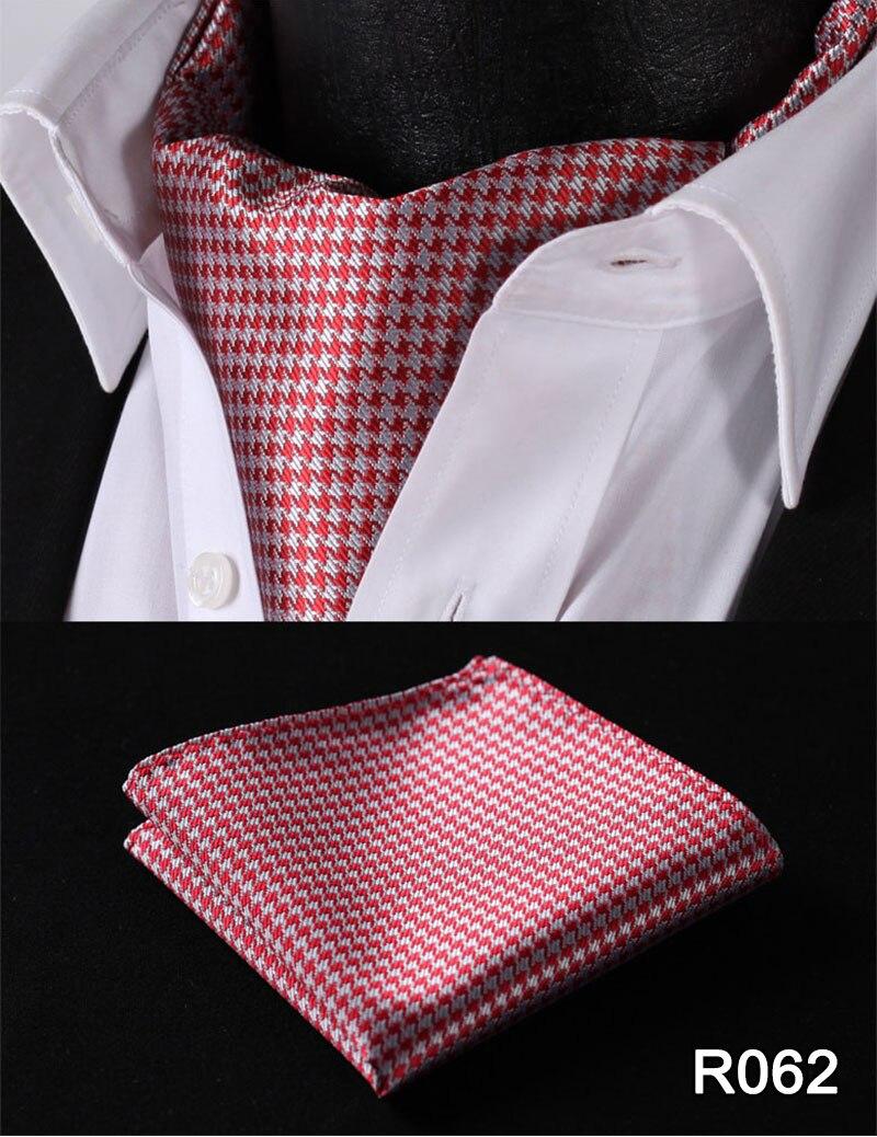 Check Striped Men Silk Cravat Ascot Tie Handkerchief Set #RM2