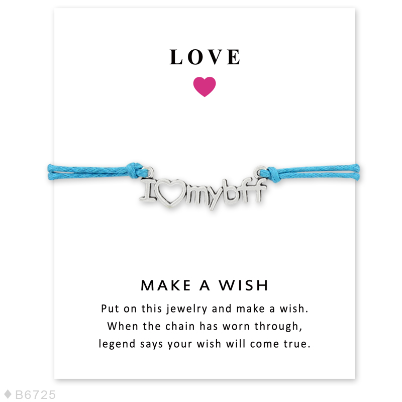 Girls Adjustable Love Statement with Card Silver I love My Best Friends Forever Charm Make a Wish Bracelets for Women image