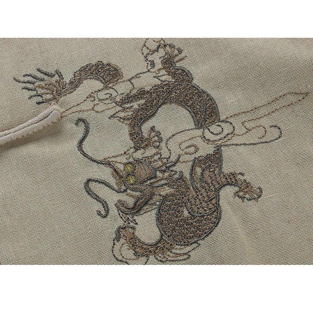 ブランド新到着中国の伝統的な固体綿リネン刺繍ドラゴンカンフートップス ML XL XXL 3XL MS201506