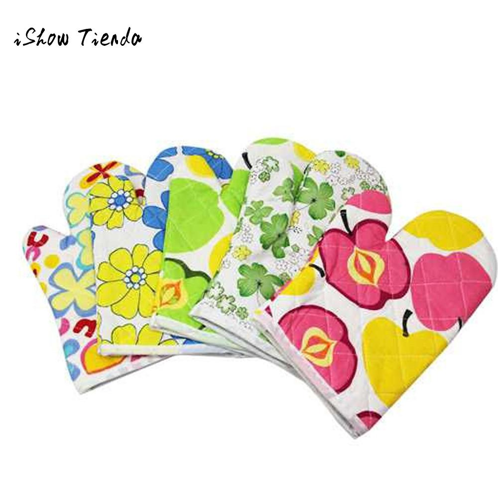 Kitchen Cooking Cotton Microwave Oven Gloves Mitts Pot Pad Heat Proof Protected