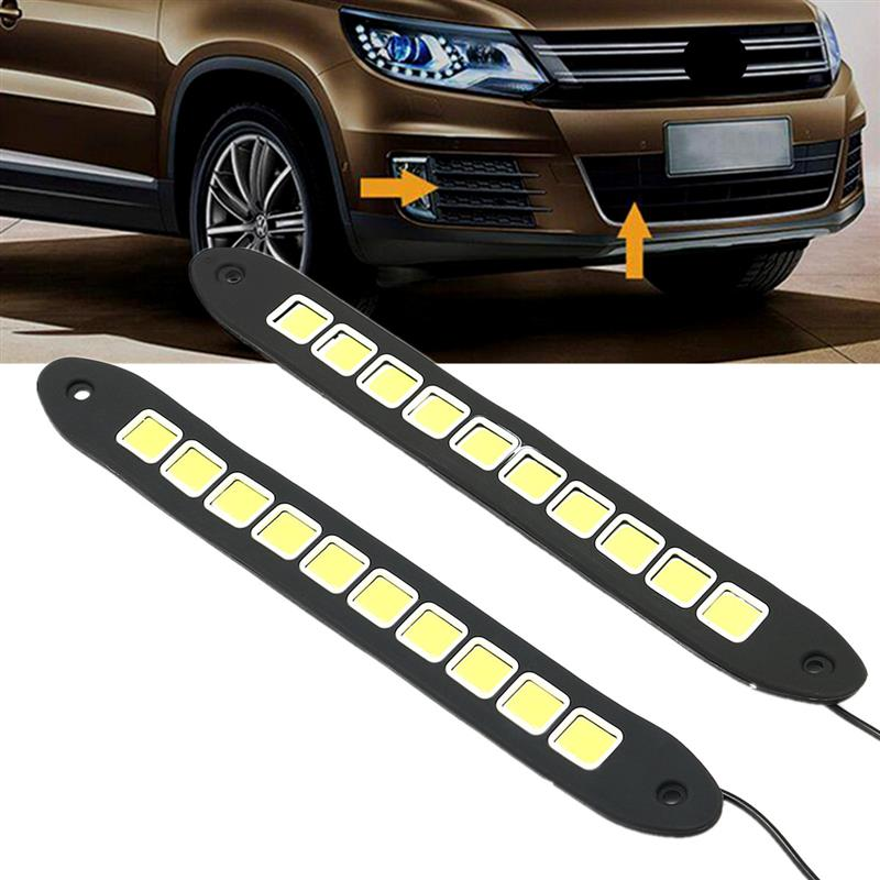 Car Strip Lamp 10 LED Fog Waterproof COB bright white light DC10-16V 20W 1//2pcs