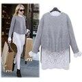 Mujeres top set primavera otoño invierno tops de encaje blanco y un suéter 2 unidades set mujeres de la alta calidad de la blusa y suéter de dos piezas conjunto