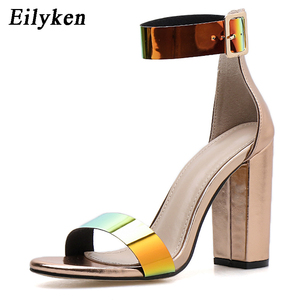 Image 2 - Eilyken Fashion Patent Leather Women Buckle Strap Sandals For Summer High Heels Peep Toe Shoes Ladies chunky heels 10.5CM Shoes