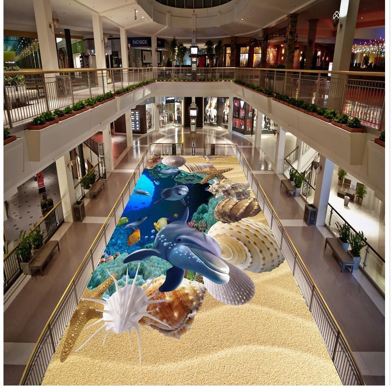 Photo floor wallpaper 3d stereoscopic ocean dolphin Waterproof floor mural painting Custom Photo self-adhesive 3D floor beibehang custom photo floor painted