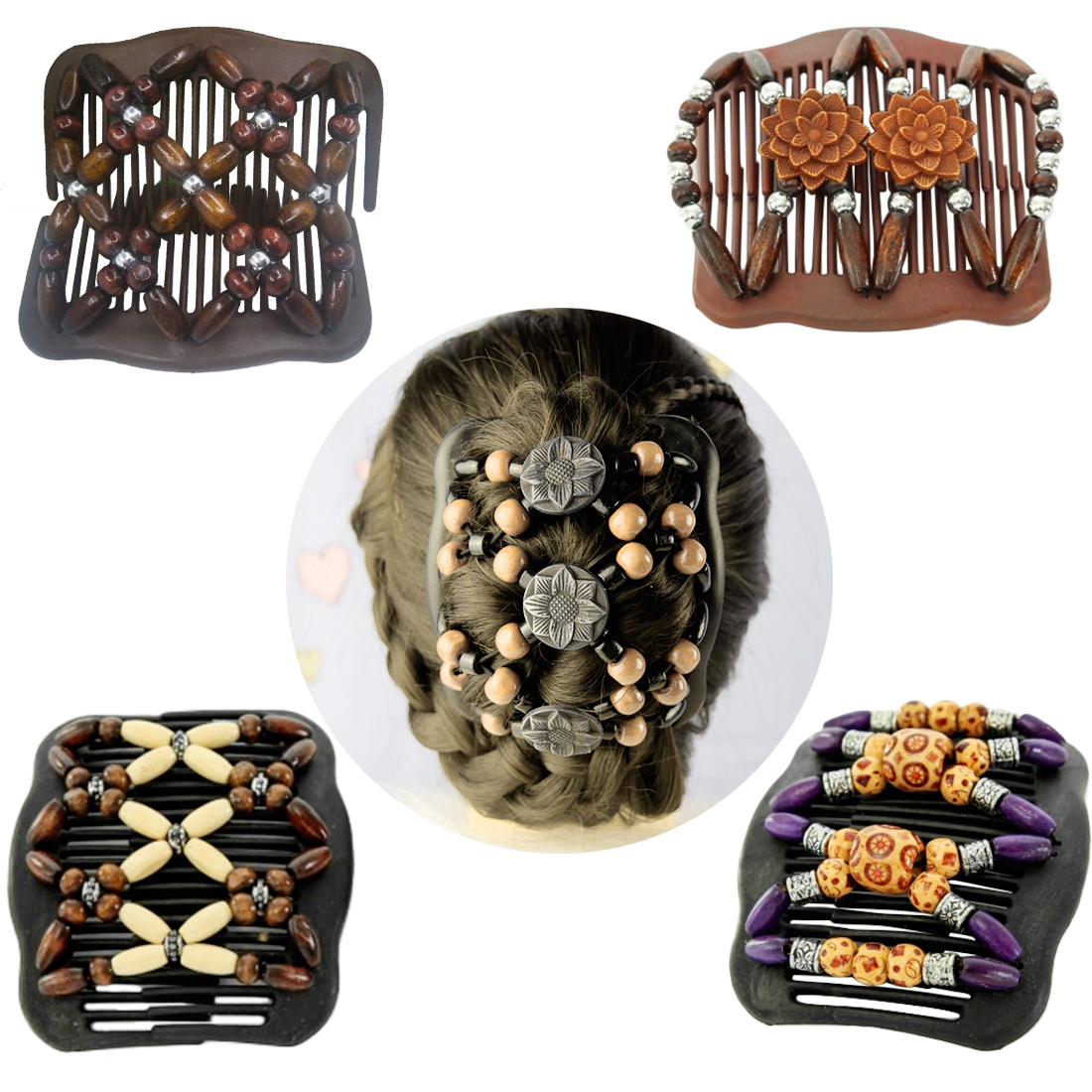 Image 4 - Wedding Ethnic Fashion Vintage Magical Retro Double Beaded Hair Comb Clip Beads Elasticity Hairpin Stretchy Hair Combs Pins-in Combs from Beauty & Health