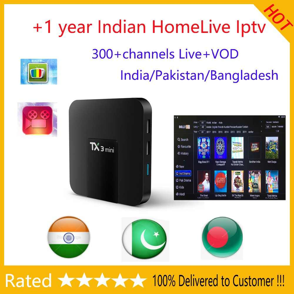 TX3 mini tv box avec 1 an homelive indien iptv abonnement prise en charge 4k HD Live/Vod gratuit smart tv box android plus stable