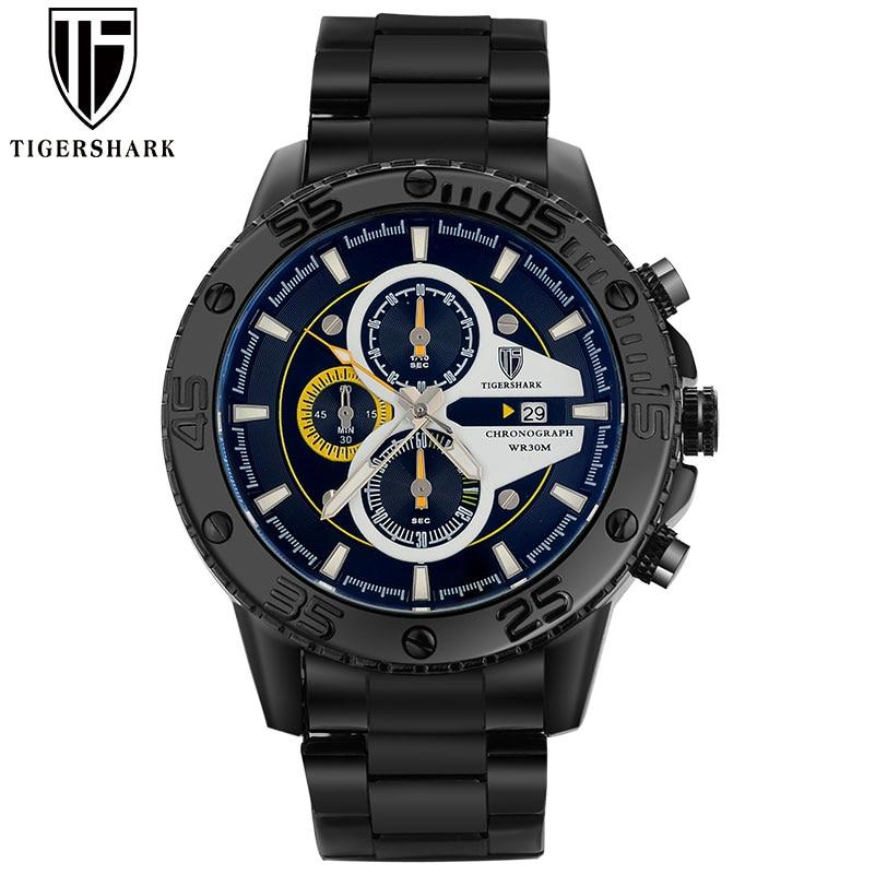 TIGERSHARK, hombres negros, relojes deportivos, cronógrafo, fecha, - Relojes para hombres