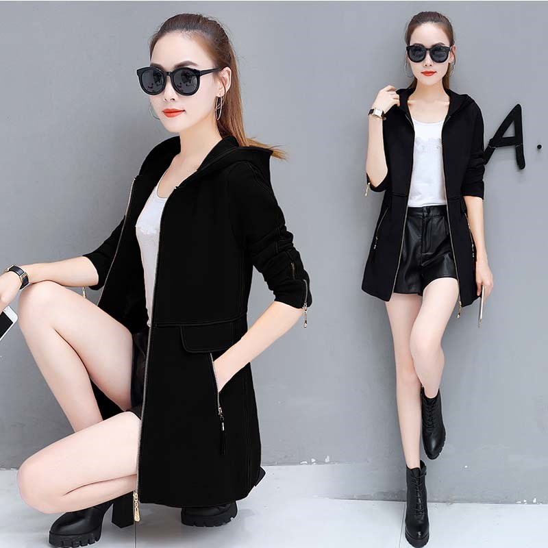 Autumn Women Plus Size   Trench   Coat Fashion Slim Cotton Casual Windbreaker Ol Patchwork Hooded   Trench