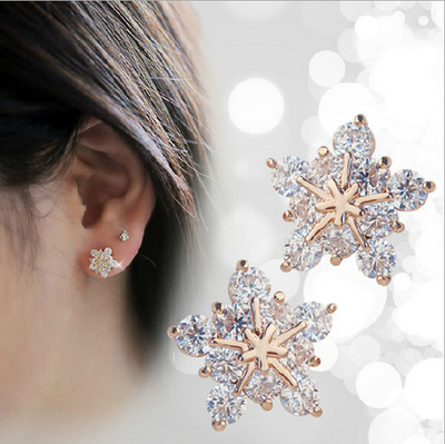 Us 0 44 22 Off New Fashion Rhinestone Crystal Rose Gold Stars Stud Earring Cute Christmas Snowflake Earrings Fine Jewelry For Women In