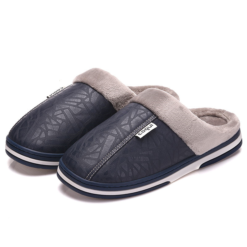 Men Shoes Winter Warm Slippers Indoor Slippers Plus Size 45 Solid Pu Leather Shoes Waterproof Male Adult Slippers